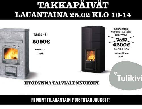 Takkapäivä ja remonttilauantai La 25.2.2017